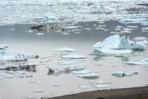 Floating icebergs drifting in the water in Fjallsarlon glacier lagoon, Iceland. Global warming