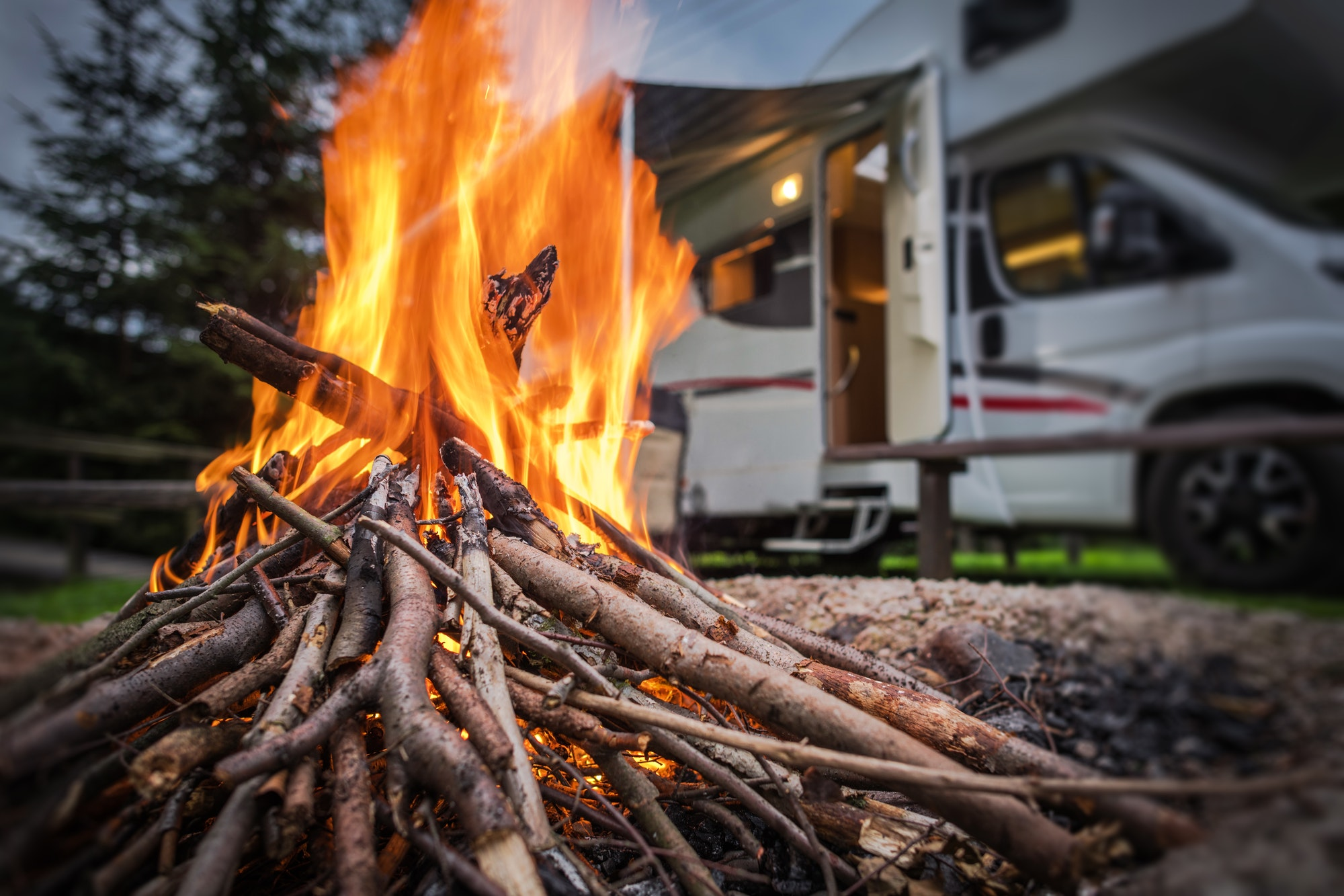 RV Park Camping Fire